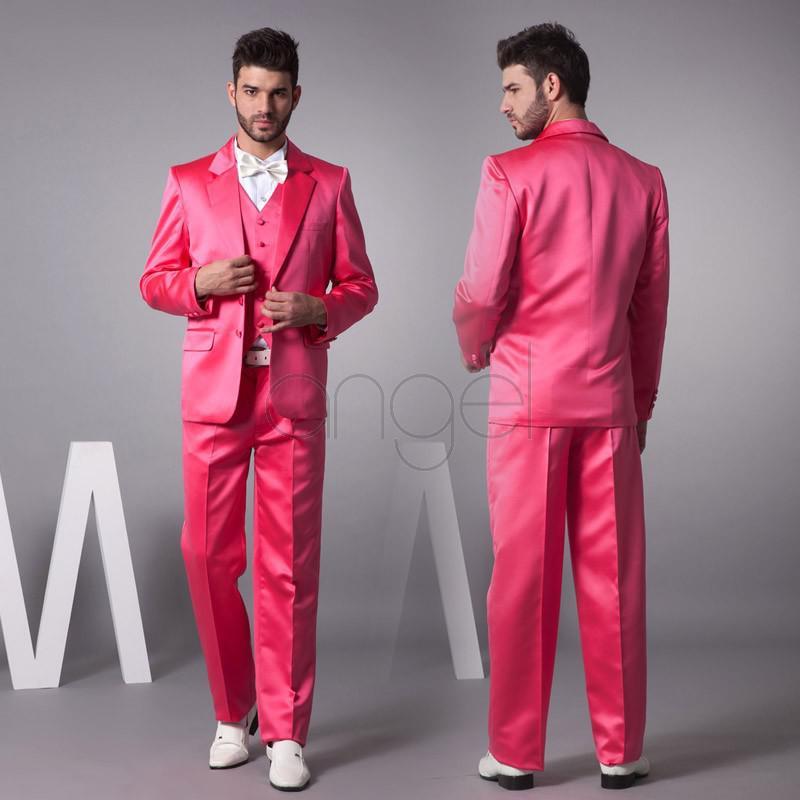 Hot Pink Nieuwe Bruidegom Tuxedos Satijn Materiaal Groomsmen Mannen Huwelijkspakken Jas + Broek + Tie + Vest H231