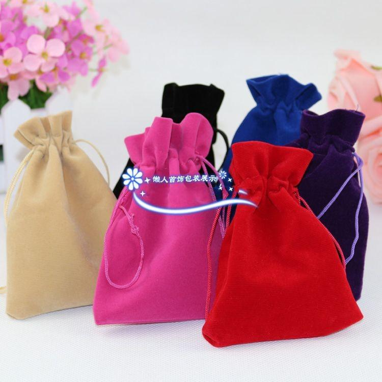New Black Jewelry Pouches Bags Velvet Drawstring Bags for Rings Necklace Wedding Gift DIY Packaging Jewel Case