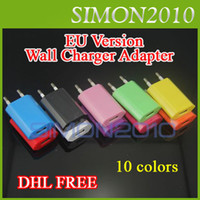 Wholesale Blue 3gs - 5V 1000mah Colorful EU & US Plug USB Wall Charger Adapter for iphone 3GS 4 4S 5G Color Charging Blue