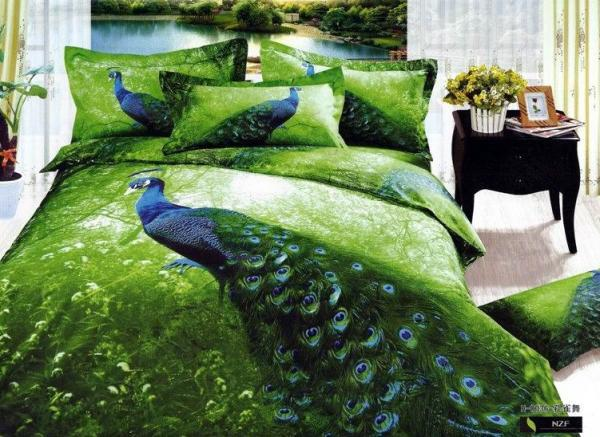 3D Green Peacock Feather Print Bedding Comforter Set Sets For Queen Size Bed  Sheet Duvet Cover Bedspread Quilt Linen Beautiful 100% Cotton Bed In A Bag  ...