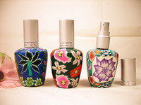 Wholesale Empty Bottle Perfume 15ml Spray - 10pcs lot Vintage Coloured Drawing Perfume Spray Empty Glass Bottle Atomizer 15ML Air Freshener