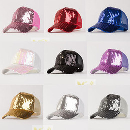 Wholesale Short Hat Army Caps - Fashion Womens Mens Girls Boys Unisex Sequins Baseball Hat Cap Party Short Dance