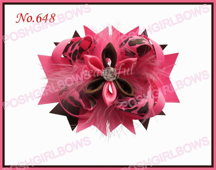 mix color 4.5 Inch feather romantic hair bows clip girl baby feather hair clips