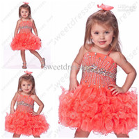 Wholesale Spaghetti Bodice Girls Dress - Fancy Jeweled Bodice Girls Short Pageant Dress Beaded Spaghetti Straps Fashion Short Pageant OX589