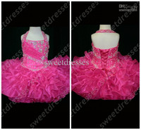 Wholesale Hot Pink Glitz Pageant Dresses - Halter Top Little Rosie Cupcake Dress Lovely Little Rosie hot pink Glitz Toddler Pageant Dress OX582