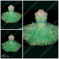 Wholesale Embellished Pageant Gowns - Multi Colored Toddler Pageant Dress Embellished Little Rosie Halter Strap green Pageant Dress OX580