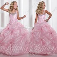 Wholesale Stunning Pageant Dresses Little Girls - 2015 Little Girls Pageant Dresses Light Pink Simple Stunning Beaded Strap Long Girls Pageant Gown Organza Pleated Flower Girls Dress OX553
