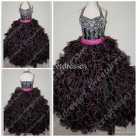 Wholesale beautiful girl photos - Beautiful Black Organza Appliuqe Beaded Halter Ruffled long Flower Girl's Pageant Dress Prom Gowns 2014 Flower Girls Dress Party Dress GH001