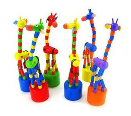 Wholesale Wooden Stand Christmas Decorations - Colorful wooden toy animal standing giraffe baby toy home decoration random delivery wooden toys