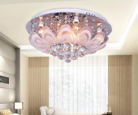 Minimalista moderno K9 cristal levou lâmpada de teto candelabro sala de estar quarto de quarto diâmetro 50cm