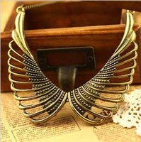 Wholesale Retro Miao Collar Necklace - Ladies Retro Punk Hollow Out Metal Bronze Angel Wing Choker Bib False Collar Necklace #8054