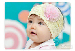 Wholesale Wholesale Korean Baby Headbands - Free shipping(2pcs lot)New Korean style baby hair ornament Big Rose flower headwear Lace headbands
