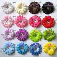 """Wholesale Pink Gerbera Hair Accessories - 100pcs 2"""" small flower Daisys flowers head gerbera girl hair accessories clip baby hair bows gmetyt5"""