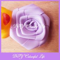 Wholesale Diy Flower For Hairclip - Diy handmade satin ribbon fabric rosette flower Hot for hat garments hairband hairclip and hair acce