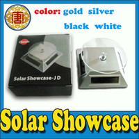 Wholesale Solar Power Display Stand - mini Solar showcase Powered Turntable Rotary Jewelry Display Stand black,silver,gold and white