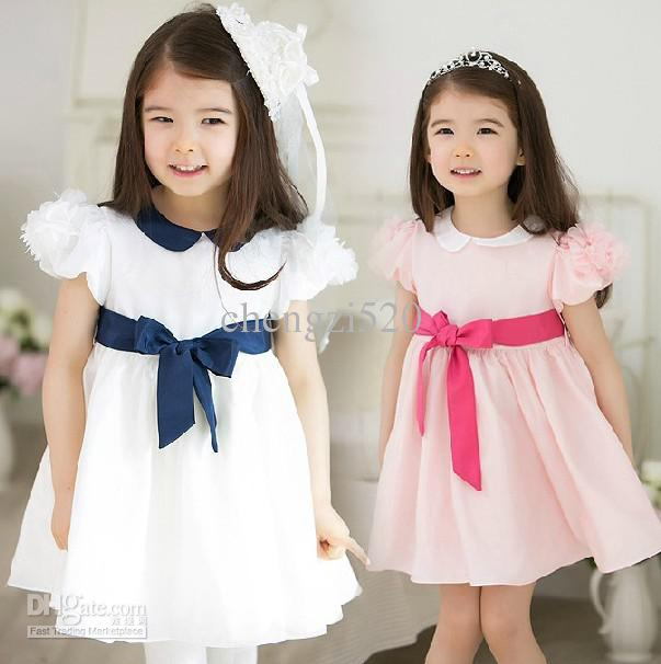 2013 Girls Dresses Puff Sleeve Princess Dress Children Flower Petals Lapel Dress Children's Clothing