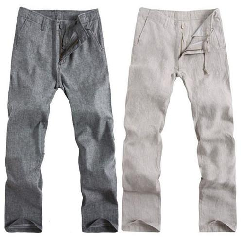 2017 New Mens Casual Beige Gray Linen Pants Trousers Drawstring ...