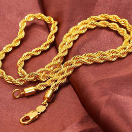 Wholesale Twisted Rope Chain Link - Free shipping simple fashion, men's 18K gold necklace explosion models 23.6 twisted rope knotted link chain jewelry