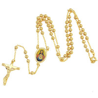 Wholesale Yellow Gold Cross Necklace - Loyal men's Cool pendant 18k yellow gold cross necklace Jesus chain 19.6inch