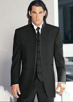 Wholesale Men Prom Suits White - New Arrival Groom Tuxedos Mandarin Lapel Groomsmen Balck Men Wedding Prom Dinner Suits Best Man Bridegroom (Jacket+Pants+Tie+Vest) H340