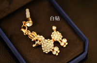 Wholesale Headphone Jewelry Plug - p060_Cute poodle dust plug crown over drilling mobile phone pendant pendant headphone plug jewelry w