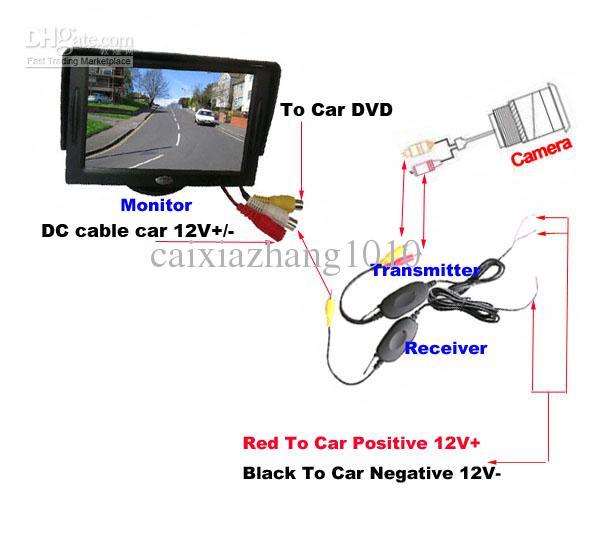 9 IR Wireless Day Night Car Reversing Reverse Backup Câmera + 4.3