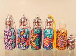 Wholesale Glass Fragrance Bottles Wholesale - 6ML Beautiful Flower Pattern Perfume Travel Set Glass Bottle Roll-on Bottle Fragrance Vial 10pcs lot CE318