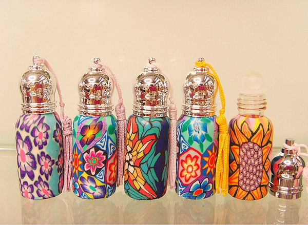 6ML Beautiful Flower Pattern Perfume Travel Set Glass Bottle Roll-on Bottle Fragrance Vial 10pcs/lot CE318