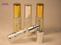 Wholesale golden bottle cosmetic - 10ml Beautiful MINI Glass Perfume Bottle Silver Golden Flower Bronzing Cosmetic Bottle Atomizer Fragrance Spray Makeup Container