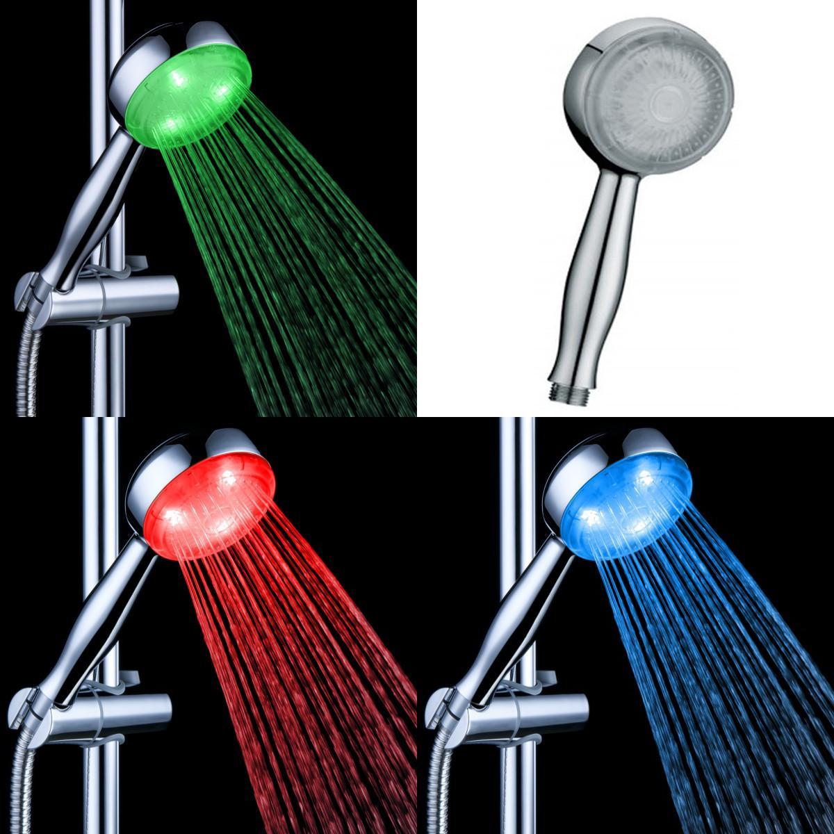 2018 Temp Led Hand Shower Temperature Sensor Shower Spray Head ...