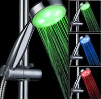 Wholesale Sprinkler Led - Bathroom Sprinkler Temperature Sensor LED Shower Head Automatic Color Control RGB Water Glow