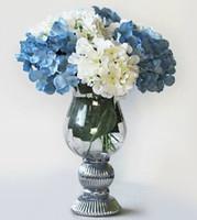 Wholesale silk hydrangea stems wholesale - Nice 20p Silk Artificial Hydrangea pincushion Laurustinus Flower Single Stem per Bush Wedding Home Party Decorative Flowers