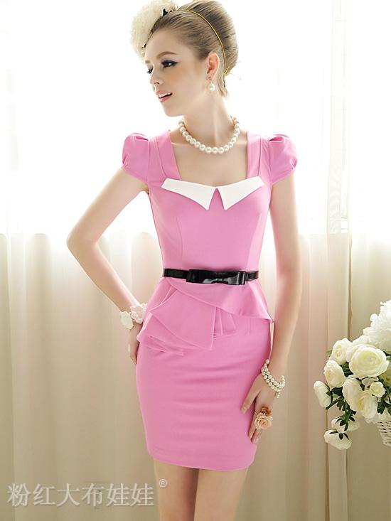 fashion ladies pink dress 2013 short sleeve highly