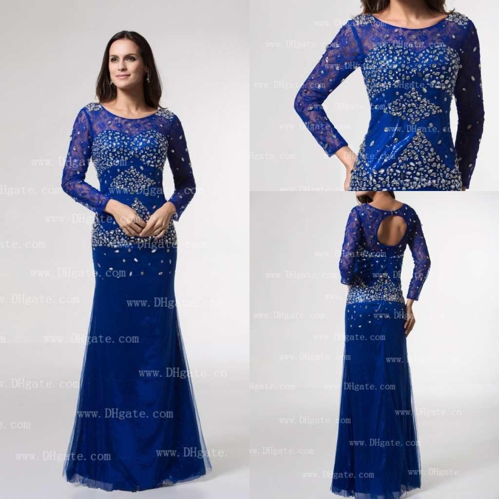 Royal Blue Long Sleeves Lace Rhinestones Beaded Mermaid Prom Dresses ...