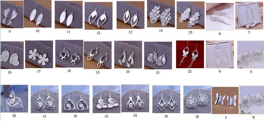30paia / plating 100% 925 zilver gemengde 30 stijl oorbellen