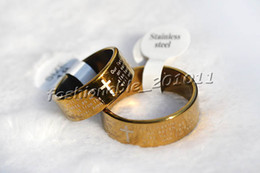 Wholesale English Cross Rings - FREE 36 pieces English Bible Prayer Gold P Stainless steel Cross Rings Width 8 Thick1.2mm #Rs36 New