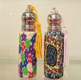 Wholesale 8ml Roll Perfume Bottles - Free Shipping Travel Refillable Perfume Roll-on Bottle 8ml Mini Cosmetic Flower Pattern Perfume Bottle 10pcs lot