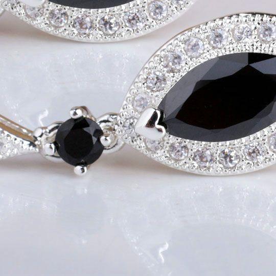 Women 925 Sterling Silver Earrings Eye Shape Black Onyx Dangle jewelry MNS E081BO Gift For Lovers