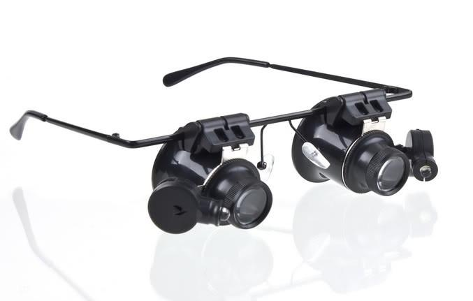 Orologio da gioielleria LED Occhiali luce LED 20X Legger Magnifier Glassaggi Occhiali da ingrandimento Lente lente