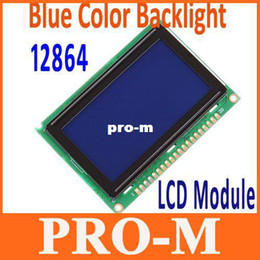 Wholesale Display 12864 - 12864 128x64 Dots Graphic STN Blue Color Backlight LCD Display Module Free Shipping+Drop Shipping