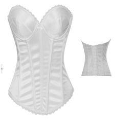 Wholesale White Corsets Wedding Lingerie - white wedding Bridal boned overbust Corset Bustier top Lingerie Underwear s m l xl xxl LS001