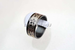 Wholesale Ring Size 17 - Wholesale lots Stainless steel Rings 50pcs Mixed Black Pattern Mixed Sizes 17-22mm Men's Rings New Jewelry #R157