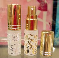 Wholesale Hot Stamping Perfume Atomizer - 10pcs Hot Stamping Spray Bottle Bronzing Golden Flower Pattern Perfume Atomizer Empty Bottles 15ml