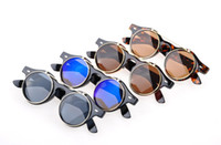 Wholesale Round Costume Sunglasses - 2013 Vintage Retro Steampunk Mens Womens Sunglasses Costume Round Circle Flip Up Clear Lens Glasses