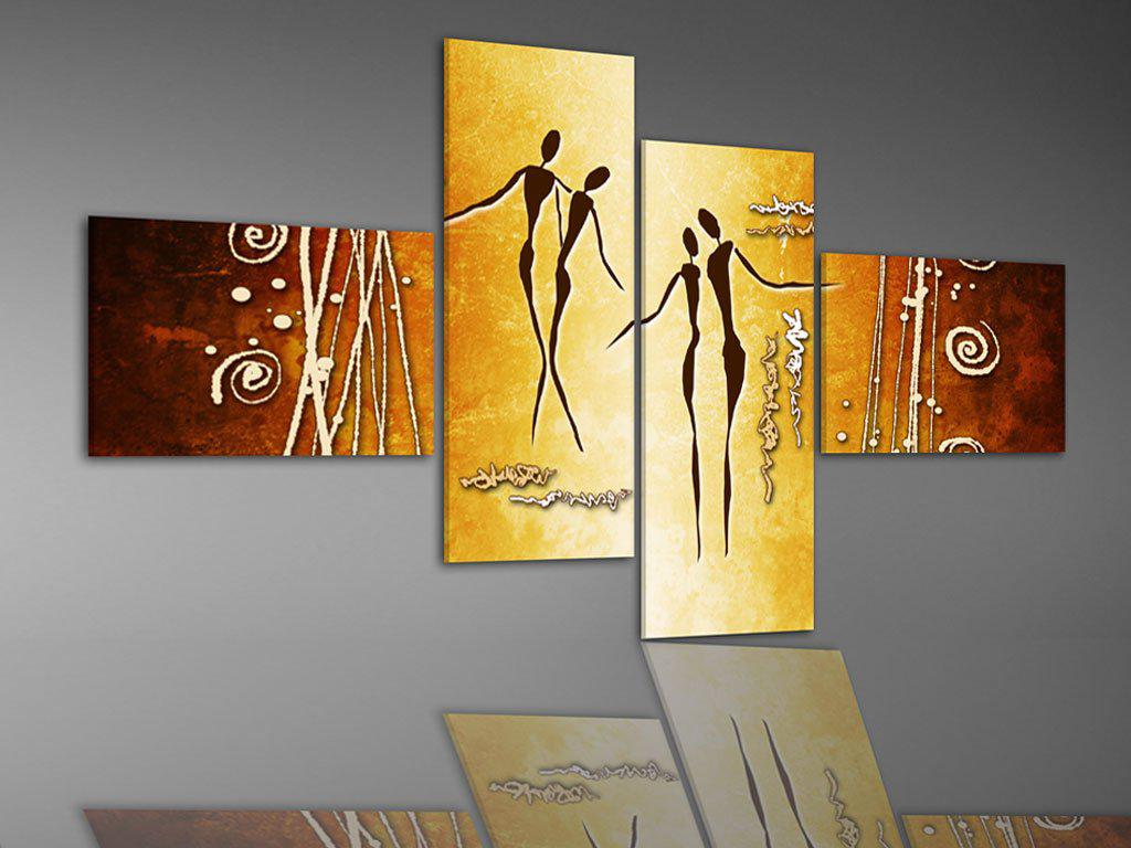 Hand-painted Hi-Q modern home decorative abstract figure  oil-painting--khaki Double the waltz light yellow 4pcs/set framed
