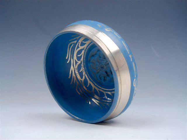 Tibetano bronze dourado dourado canto exclusivo cantando tigela meditação gongs azul