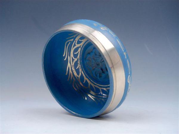 best selling Tibetan Brass Gold Gilt Unique Chakra Singing Bowl Meditation Gongs BLUE