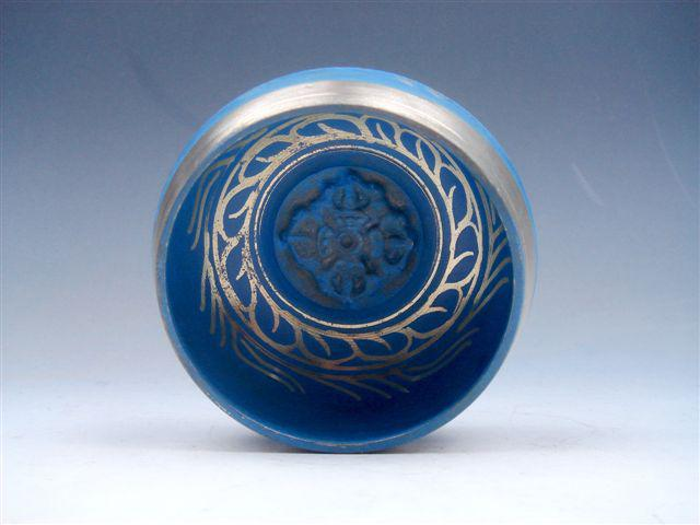 Tibetan Brass Gold Gilt Unique Chakra Singing Bowl Meditation Gongs BLUE