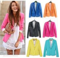 Wholesale Tunic Foldable Sleeve - New Fashion Womens Tunic Foldable sleeve Blazer tops suit Jacket 6 Colour Size:fit UK AU: XS S M L Free Shipping