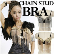 Wholesale Wholesale Exotic Wear - Lingerie Bra Metal Studded Rivet Spiked Chained Exotic Belly Dancer Wear Dancing Top